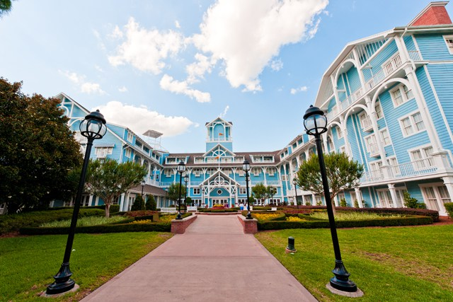 walkway with street lights to the blue disney beach club villas dvc resort