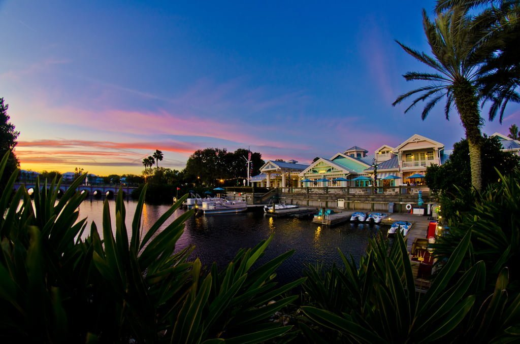 boats docked on the water at disneys old key west dvc resort
